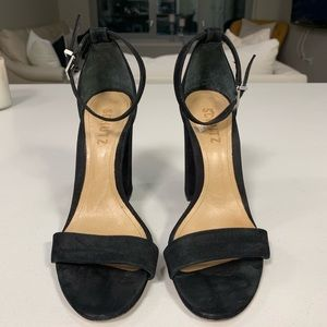 Schutz black suede platform heel sandal
